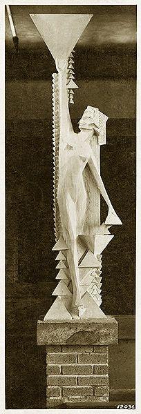 Female Sprite holding triangle in the Northwest corner of the Winter Garden.