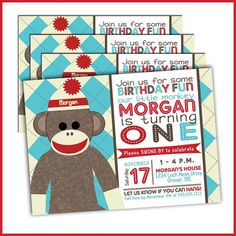 So cute - great graphics. Sock Monkey 1st Birthday Invitations 296  Boy Sock by LullabyLoo, $18.00