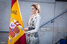 Queen Letizia of Spain delivers spanish flag to National Police at National Police School Headquarters on November 10, 2015 in Avila, Spain.