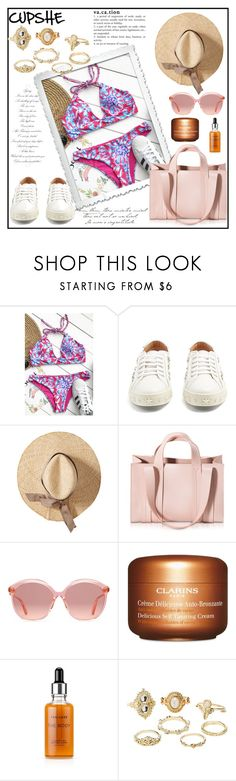 """CUPSHE 2/30"" by aazraa ❤ liked on Polyvore featuring Aquazzura, Corto Moltedo, Gucci, Clarins, Tan-Luxe and Charlotte Russe"