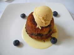 Sour Cream Blueberry Cake with Vanilla Bourbon Anglaise and Toasted Almond Gelato