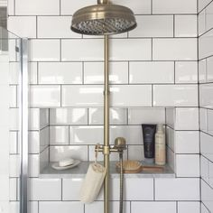 Bath room ideas diy shower shelves ideas for 2019 Built In Shower Shelf, Shower Shelves, Bathroom Shelves, In Shower Storage, Built In Bathroom Storage, Bath Storage, Smart Storage, Storage Ideas, Storage Design