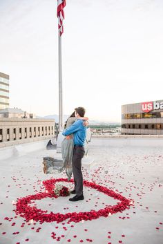 A secret proposal with perfect timing. Perfect Proposal, Perfect Timing, Proposals, Rose Petals, Rooftop, Wedding Details, Wedding Photography, The Incredibles, Engagement
