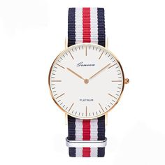 The Daniel Wellington Classic Canterbury. This sophisticated watch features a blue, white and red NATO strap, a stainless steel case and an eggshell white dial with silver coloured hands and markers. Daniel Wellington Classic, Daniel Wellington Watch, Canterbury, Urban Jewelry, Gold Jewelry, Gucci Watch, Best Watches For Men, Nato Strap, Rose Gold Watches