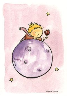 "Maple Lam, ""Tribute to Masters Series - Antoine de Saint Exupéry"". ^_^ I'm so glad she didn't draw the fox. The fox is my favorite Little Prince character--but I literally can't look at/think about him very long without starting to feel incredibly sad. So I hardly ever save pictures of him . . . This illustration is cute--and safe."