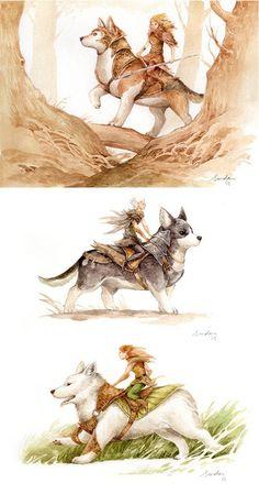 Fairies on Corgis, Watercolor, 800x1522 : Art