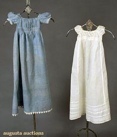 INFANTS CALICO DRESS, c. 1820 & fine cotton infant dress