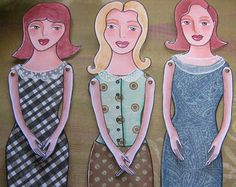 Retro Paper doll pattern PDF instant download