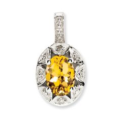 Sterling Silver Diamond & Citrine Pendant