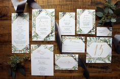 Downloadable Greenery Eucalyptus & Gold Geometrical Wedding Invitation, Save the Date, Table Number, Menu, Place Card Program DCo Lovenotes by DColovenotes on Etsy https://www.etsy.com/listing/502522570/downloadable-greenery-eucalyptus-gold
