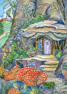 """Daily Paintworks - """"Fairy House Just Outside of Town Storybook Cottage Series"""" - Original Fine Art for Sale - © Alida Akers Storybook Cottage, Cottage Art, Cute Cottage, Cottage Door, 3d Art, Garden Drawing, Mushroom Art, House Illustration, Fairy Art"""
