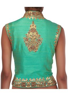 Gorg Back details: two-toned jacket blouse embellished in gotta patti and zardosi http://www.KalkiFashion.com/