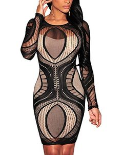 Cfanny Women's Lace Nude Illusion See Through Sleeves Bodycon Dress,Black,Small