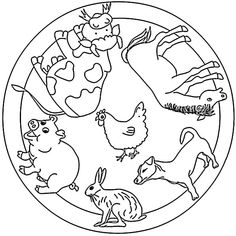 : coloring page mandalas with animals - Ausmalbilder Mandala - Activities For Adults, Preschool Activities, Animal Coloring Pages, Colouring Pages, Halloween Mandala, Image Categories, Woodland Party, Science Projects, Spring Nails