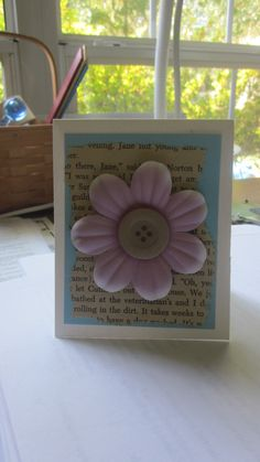 handmade card using book pages Used Books, Book Pages, Create, Cards, Handmade, Hand Made, Maps, Playing Cards, Handarbeit