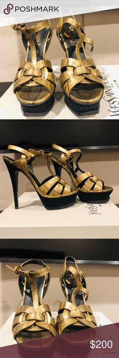 8a44cd1f949 YSL sandals Pre-owned YSL sandals metallic gold heels are suede comes with  dust