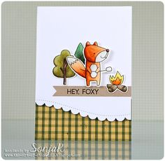 "handgemachte Karte, Männerkarte | handmade card, masculine card - My Favorite Things ""Warm & Fuzzy Friends"", ""Forrest Friends"", Simon Says Stamp ""Wavy Scallop Stitches"", Bo Bunny ""Camp-A-Lot"", Zig Clean Color Real Brush Markers"