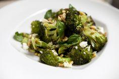 Roasted Broccoli with Toasted Pine Nuts, Feta, Basil & Lemon