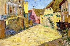Wassily Kandinsky Kallmünz-Vilsgasse I (Rosa Landschaft) dated Impressionism, Kandinsky, Expressionist Painting, Landscape Artist, Russian Art, Abstract Landscape, Painting, Abstract Art, Kandinsky Art