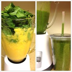 Green Citrus Smoothie (2 servings): 1 ripe Asian mango, 1 banana, 2 oranges, 2-3 handfuls of spinach, ice and a 1 cup of Pomegranate Lemonade juice. Blend. Enjoy!