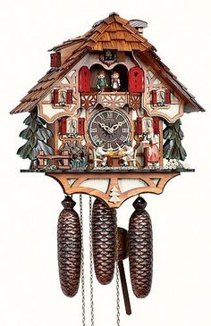 Anton Schneider Cuckoo Clock Black Forest house with moving beer drinkers and mill wheel Black Forest House, Black Forest Germany, Clock Tattoo Design, Clock Tattoos, Watch Tattoos, Coo Coo Clock, Anton, Chalet Style, Clock Art