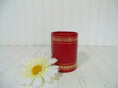 Vintage Ruby Red Leatherette with Gold Tooling Pen & Pencil Cup - Mad Men Era Retro Round Petite Office Desk Bin - Industrial Library Accent $26.00 by DivineOrders