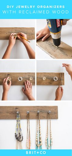 Use reclaimed wood and an assortment of knobs to DIY this jewelry organizer./ _un tablero y reciclar pomos Jewelry Organizer Stand, Jewelry Display Stands, Diy Jewelry Holder, Jewelry Hanger, Jewlery, Storage Organizers, Jewelry Stand, Diy Jewelry Unique, Diy Jewelry To Sell