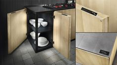 Design wooden kitchen furniture from the Natural Skin collection. Corner base unit. Worktop in steel tiles.