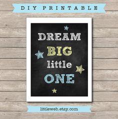 Dream Big Little One Printable, Chalkboard Nursery Art Print, Blue Yellow and Grey op Etsy, 3,73€