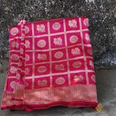 Red-Rani Pink Pure Katan Silk Banarasi Handloom Saree