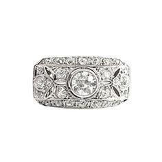 Vintage Art Deco 1930's 1.64ct t.w. Old European Cut Diamond Filigree Anniversary Engagement Ring Platinum