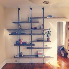 Modern Reclaimed Wood Shelving Unit Using Aged Salvaged Wood from New York City - Selber machen - Wood Shelving Units, Wood Shelves, Wood, Reclaimed Furniture, Home, Home Diy, Reclaimed Wood, Diy Furniture, Shelving
