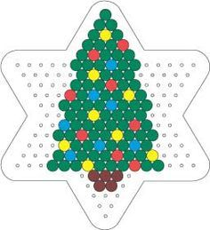 Christmas tree perler hama bead pattern on star board Hama Beads Design, Diy Perler Beads, Perler Bead Art, Christmas Perler Beads, Beaded Christmas Ornaments, Christmas Crafts, Christmas Tree, Christmas Patterns, Pearler Bead Patterns