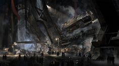 Fantasy Spaceport Steampunk Backgrounds.