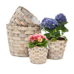 Relaxdays Pflanzkörbe rund hoch 4er Set dekorativer Holzk…