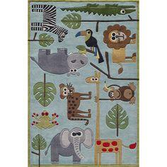 Momeni Lil' Mo Lil Mo Whimsy Blue Safari Kids Area Rug