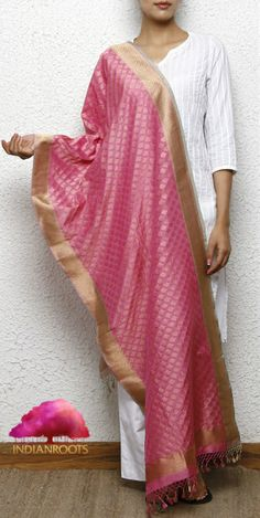 Pink Silk Stole with Zari Work by Roliana at Indianroots.com
