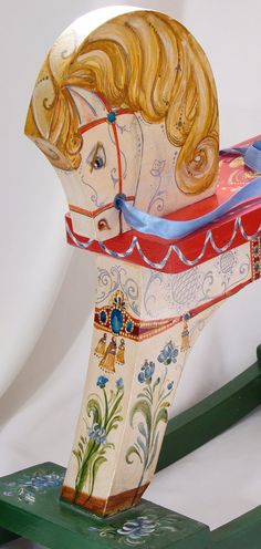 White horse painted by hand vintage wooden rocking