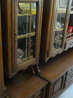 FOR SALE  Vintage Wood China Cabinets, Wine Rack, Storage. Complete set of 5 cabinets. Each cabinet has a base and an upper portion. Nice items lock with skeleton key, Glass fronts on upper cabinets.