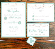 Printable Wedding Invitation Package, Layered Mint and Coral Wedding Invite Suite, Elegant Set, DIY Wedding Invitations, DIY Invitation Set