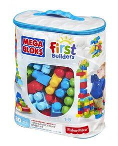 MEGA BLOKS FIRST BUILDERS ΤΟΥΒΛΑΚΙΑ ΤΣΑΝΤΑ ΜΠΛΕ 80 τεμ. | Παιχνίδι | CosmoteBooks
