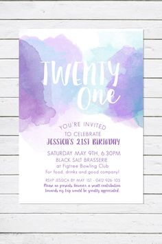 RM Creative offers the unique printable Purple Wash watercolour birthday Invitation. Suited for Birthday parties, Engagements, weddings, and other