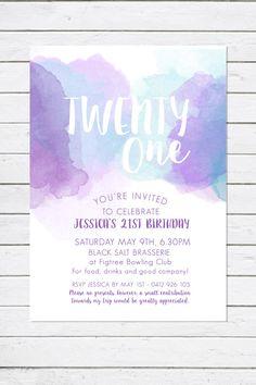 21st Birthday invitation, Twenty One, Watercolour invitation, purple, teal, turquoise, birthday party