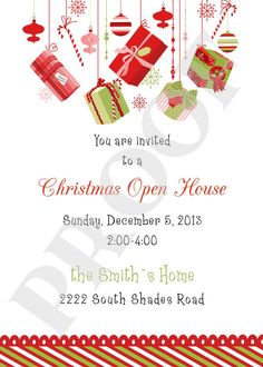 custom Christmas Open House invitations hand made by gracieandco  Change to Cocktails & Hordervoures