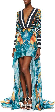 Elie Saab Mixed-Print Long-Sleeve High-Low Gown