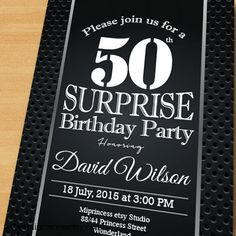 Black Surprise Birthday Invitation for any age 30th by miprincess