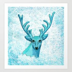 Blue+Deer+Art+Print+by+Isobel+Woodcock+Illustration+-+$16.99