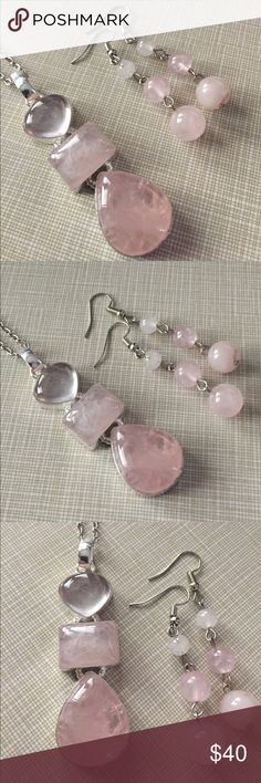 "HOST PICK 11/26/17 Beautiful Rose Quartz set Beautiful design stylish elegant classy artisan handcrafted Rose Quartz pendant silver stamped 925 inlay approximately 2""1/2 healing stone chai's approximately 22""long earrings are dangle 3 stones around 2""1/4 long Nwot Jewelry Necklaces"