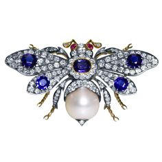 Bumblebee brooch of sapphires, pearl, rubies and diamonds in gold and silver-gilt; circa late 19th century.