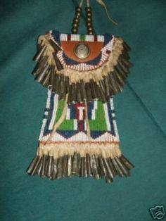 Kiowa strike-a-light bag, partly beaded